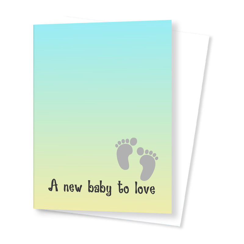 'A New Baby to Love' Card - Green/Yellow
