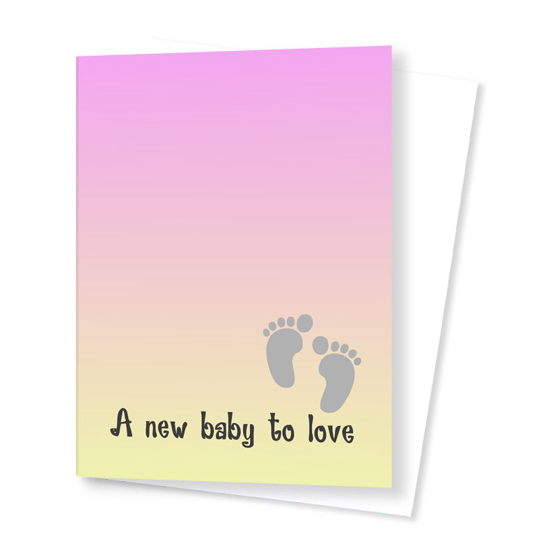'A New Baby to Love' Card - Pink/Yellow