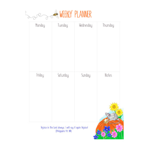 Weekly Planner - Pumpkin and Mouse Design