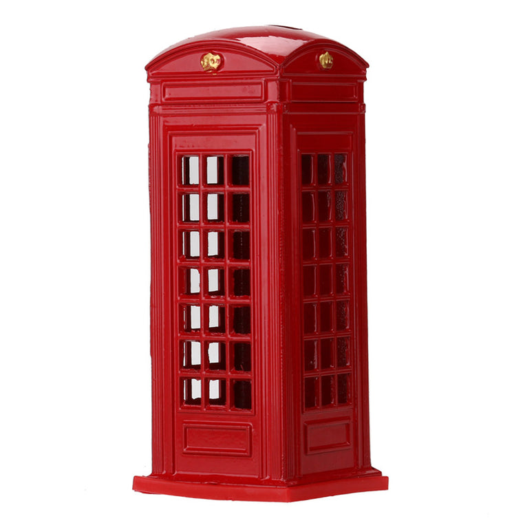 Metal Red British English London Telephone Booth Bank Coin Bank Saving Pot Piggy Bank Red Phone Booth Box 140x60x60mm