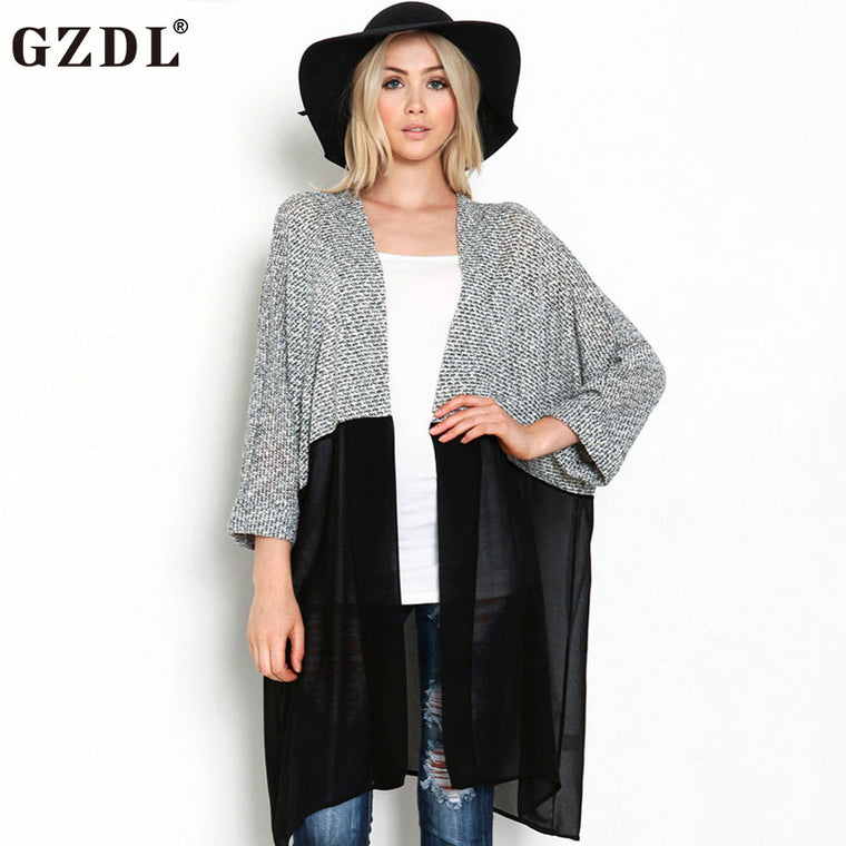 GZDL British Style Women Fashion Spring Fall Sheer Chiffon Knitted Patchwork Open Front 3/4 Sleeve Style Casual Top Coat CL3097