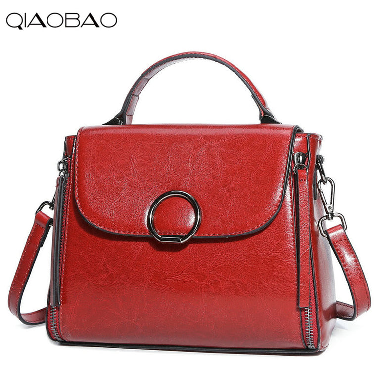 QIAOBAO New Fashion British Style Retro Doctor Bag Women Messenger Bags Shoulder Handbag Women Genuine Leather Bag Laide Bolso