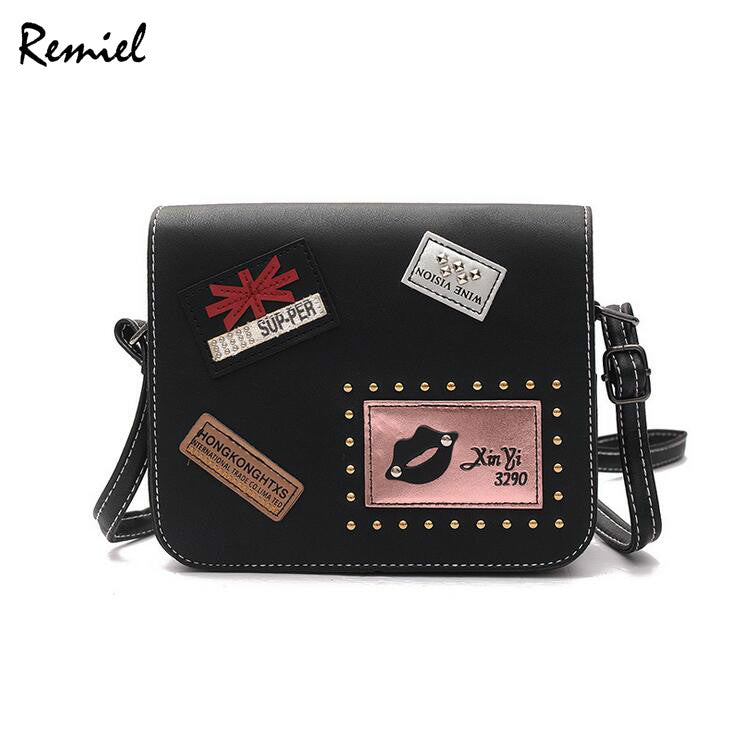 2017 Fashion New Female bag Handbags Quality PU leather Women bag British Retro Badge Square bag Rivet Shoulder Messenger Bag