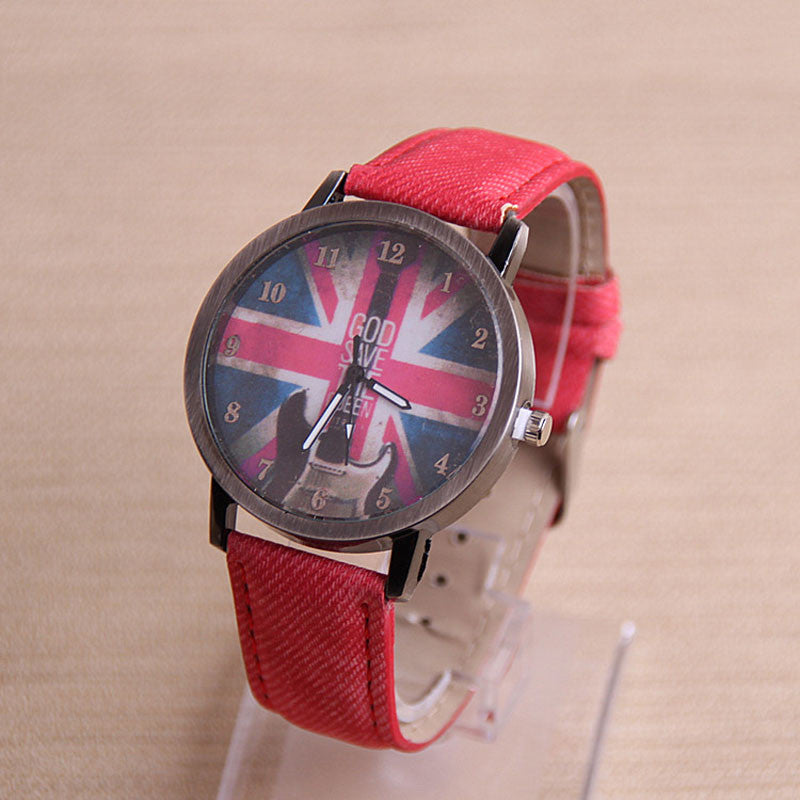 Retro Guitar British Flag Women Leather Watch Quartz WristWatch