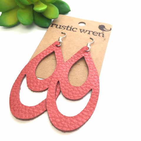 Coral Double Drop | genuine leather & hypoallergenic hooks - Rustic Wren