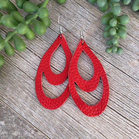 Red Double Drop | genuine leather & hypoallergenic hooks