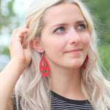 Red Double Drop | genuine leather & hypoallergenic hooks - Rustic Wren