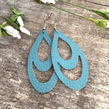 Teal Double Drop | genuine leather & hypoallergenic hooks - Rustic Wren
