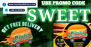 Munchy's Delievery Food Services. Fast and Very Low Priced Costs For Your Order. Use Code SWEET For Free Delivery