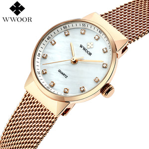 New Authentic: WWOOR- Rose Gold Luxury Female Wrist Watch