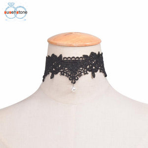 SUSENSTONE- Womens Lace Charm Choker Necklace