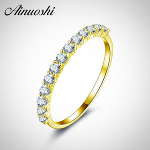 AINUOSHI- 10K Yellow Solid Gold Diamond Engagement Wedding Band Bridal Ring