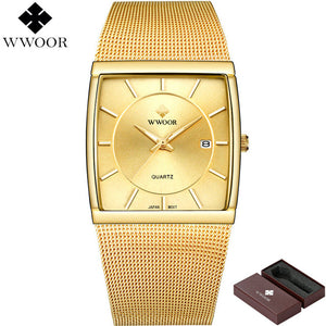 New! Authentic: WWOOR- Top Brand Luxury Men Square Waterproof Sport Watches