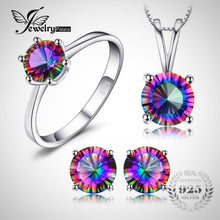 JewelryPalace- Mystic Fire Rainbow Classic Round Ring, Earrings, & Necklace Set