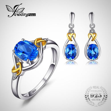 JewelryPalace- 18K Gold Natural Swiss Blue Topaz Diamond 925 Sterling Silver Jewelry Set