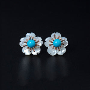 MagiCodes- 100% Ethnic Natural Turquoise 925 Sterling Silver Earrings
