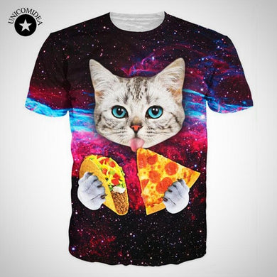UNICOMIDEA- Galaxy Kitten Eating Pizza & Taco T-Shirt