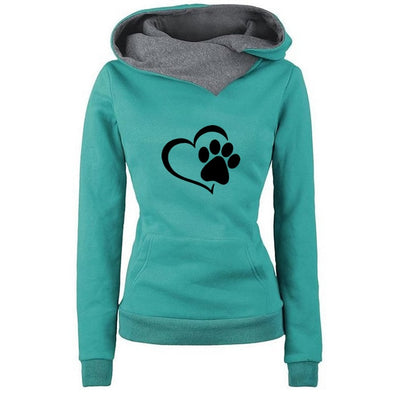 I Love Dogs Paw Print Hoodies For Women