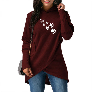 Dog Paw Prints Loose Sweatshirt Hoodies For Women