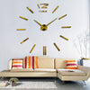 3D Wall Clock Big Quartz Frameless DIY Living Room Home Decor