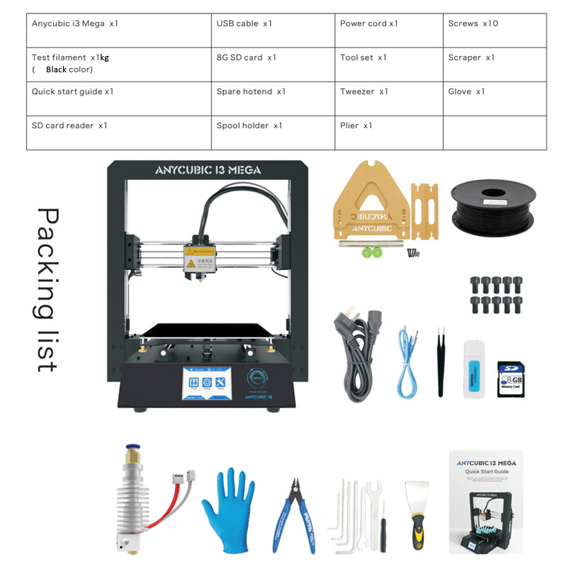 Anycubic I3 Mega Metal 3D Printer With LCD Touch Screen -