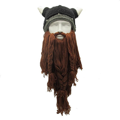 Barbarian Viking Beard Beanie Horn Hat
