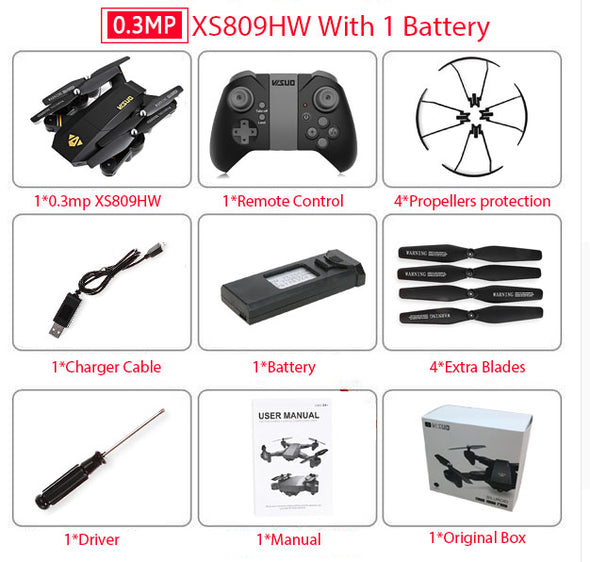 XS809HW Mini Foldable Drone Camera With Wifi FPV