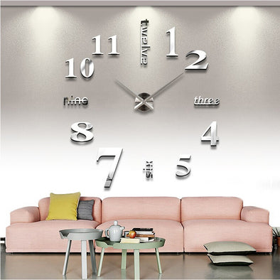 3D DIY Mirror Quartz Room Decor Big Wall Clock