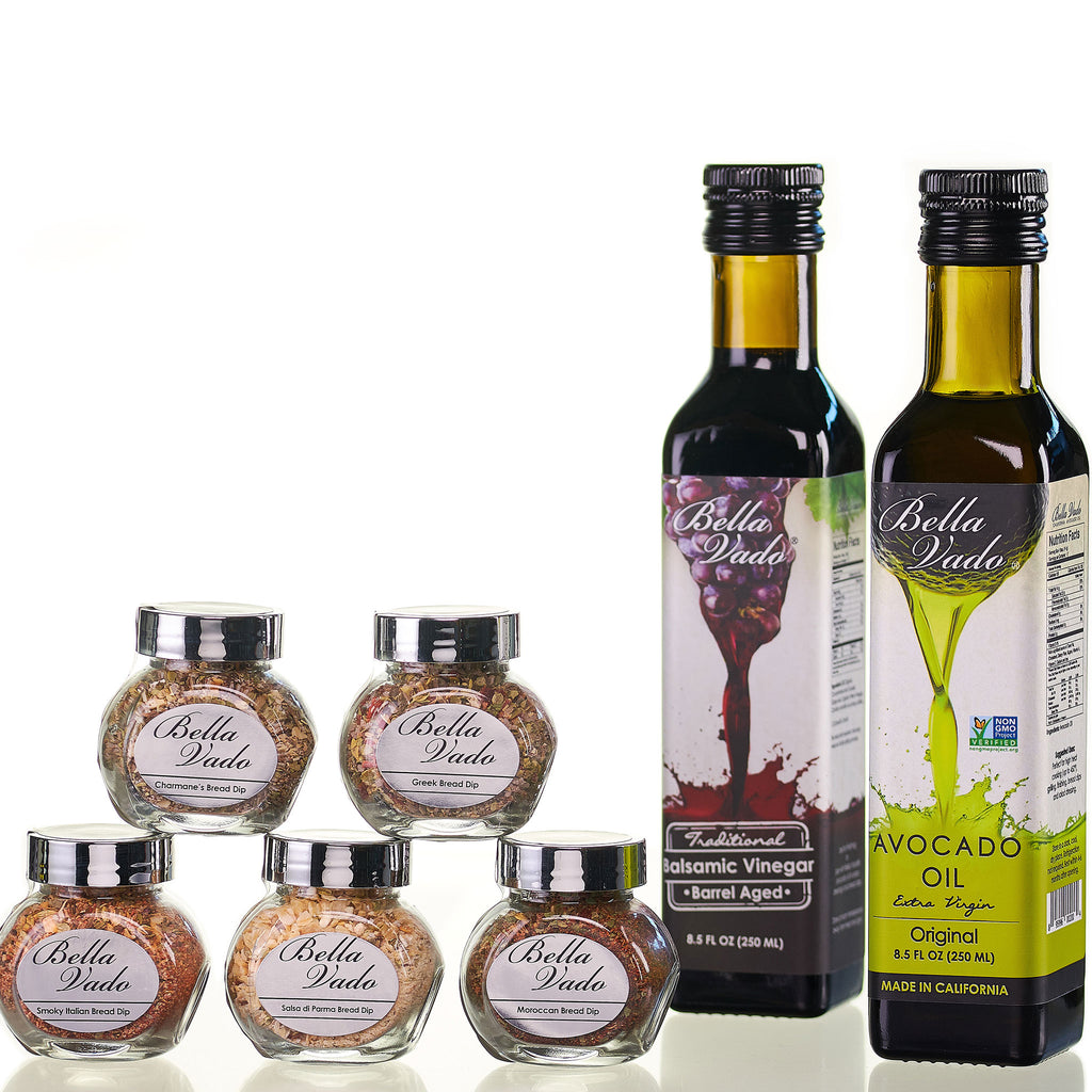 Avocado Oil (250 ml), Spices (five 1 oz) and Balsamic Vinegar (250 ml)