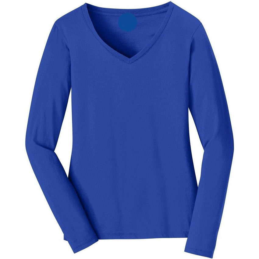 V-neck Long Sleeve Women's Royal Blue T-shirt With Fringes