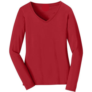 V-neck Long Sleeve Women's Cherry Red T-shirt With Fringes