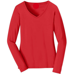 V-neck Long Sleeve Women's Bright Red T-shirt With Fringes