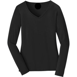 V-neck Long Sleeve Women's Black T-shirt With Fringes