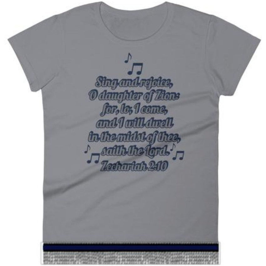 Israelite Daughter Of Zion Zechariah 2:10 Short Sleeve T-shirt With Gray Fringes