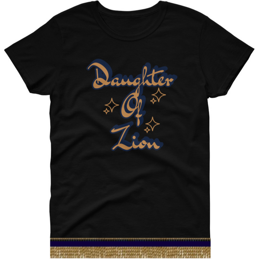 Israelite Daughter Of Zion Short Sleeve T-shirt With Gold Fringes