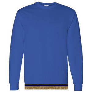 Long Sleeve Youth Boys & Girls Royal Blue T-shirt With Fringes