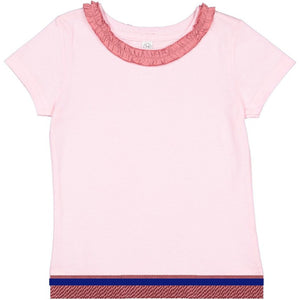 Toddler Girls Ruffle Neck Pink Short Sleeve Shirt With Rose Pink Fringes