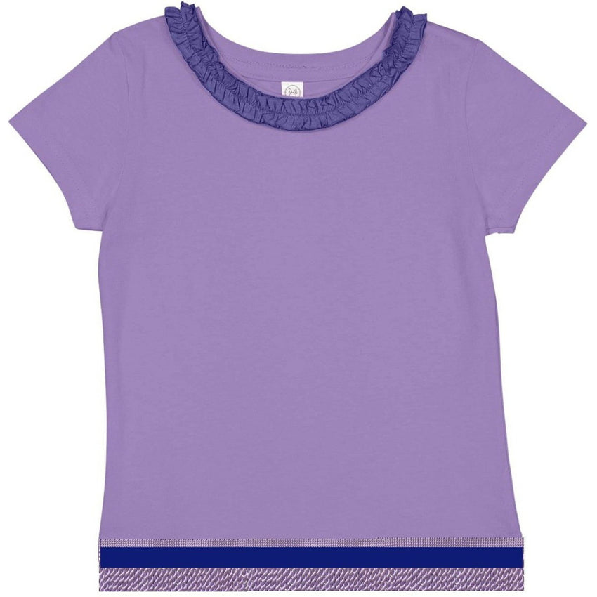 Toddler Girls Ruffle Neck Lilac Purple Short Sleeve Shirt With Light Lilac Purple Fringes