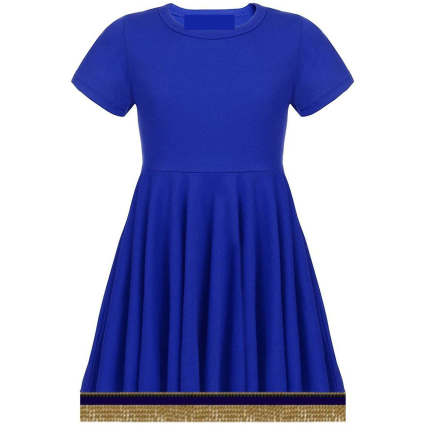 Toddler Girls Short Sleeve Royal Blue Dress With Fringes