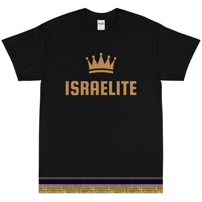 Israelite Crown Short Sleeve T-shirt With Gold Fringes