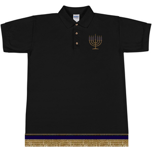 Israelite Seven Candle Stick Embroidered Polo T-Shirt With Gold Fringes