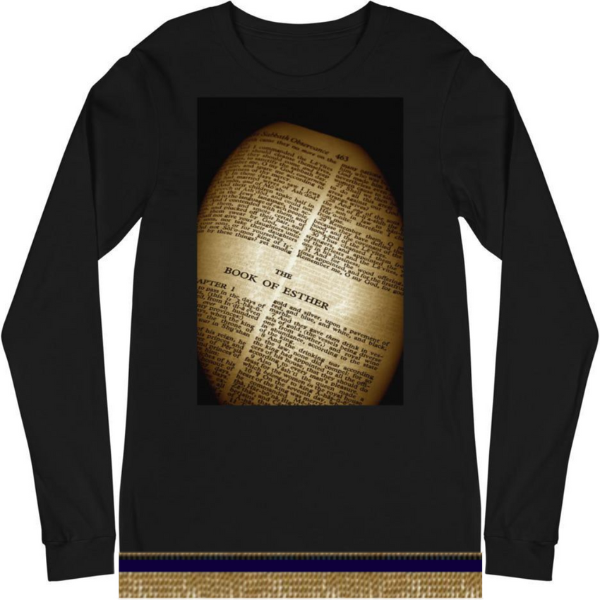 Long Sleeve Israelite Purim Book Of Esther T-shirt With Gold Fringes