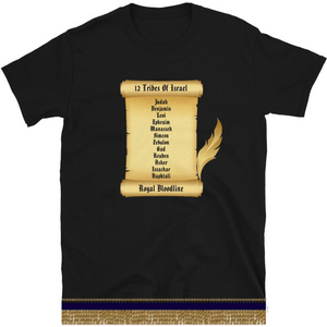 Israelite 12 Tribes Royal Bloodline Short Sleeve T-shirt With Gold Fringes