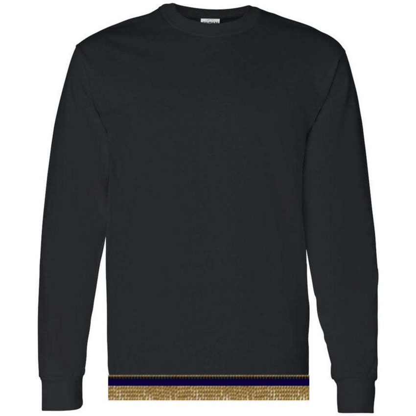 Long Sleeve Adult Black T-shirt With Fringes