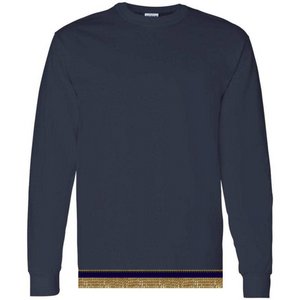 Long Sleeve Youth Boys & Girls Navy Blue T-shirt With Fringes