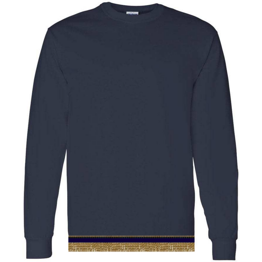 Long Sleeve Adult Navy Blue T-shirt With Fringes