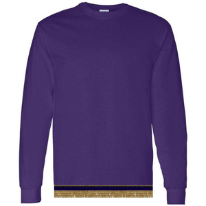 Long Sleeve Adult Purple T-shirt With Fringes