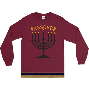 Israelite Passover Long Sleeve T-shirt With Gold Fringes