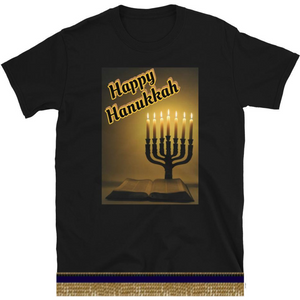 Israelite Happy Hanukkah Short Sleeve T-shirt With Gold Fringes