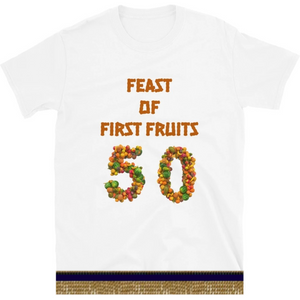 Israelite Feast Of First Fruits Short Sleeve T-Shirt With Gold Fringes